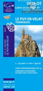 Carte TOP 25, Le Puy en Velay, Yssingeaux, IGN