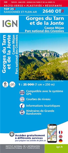 Carte TOP 25 PLASTIFIEE, Causse Méjean/Gorges de Tarn, IGN